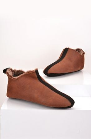 Pegia Hakiki Kürk Erkek Ev Ayakkabısı Koyu Kahve