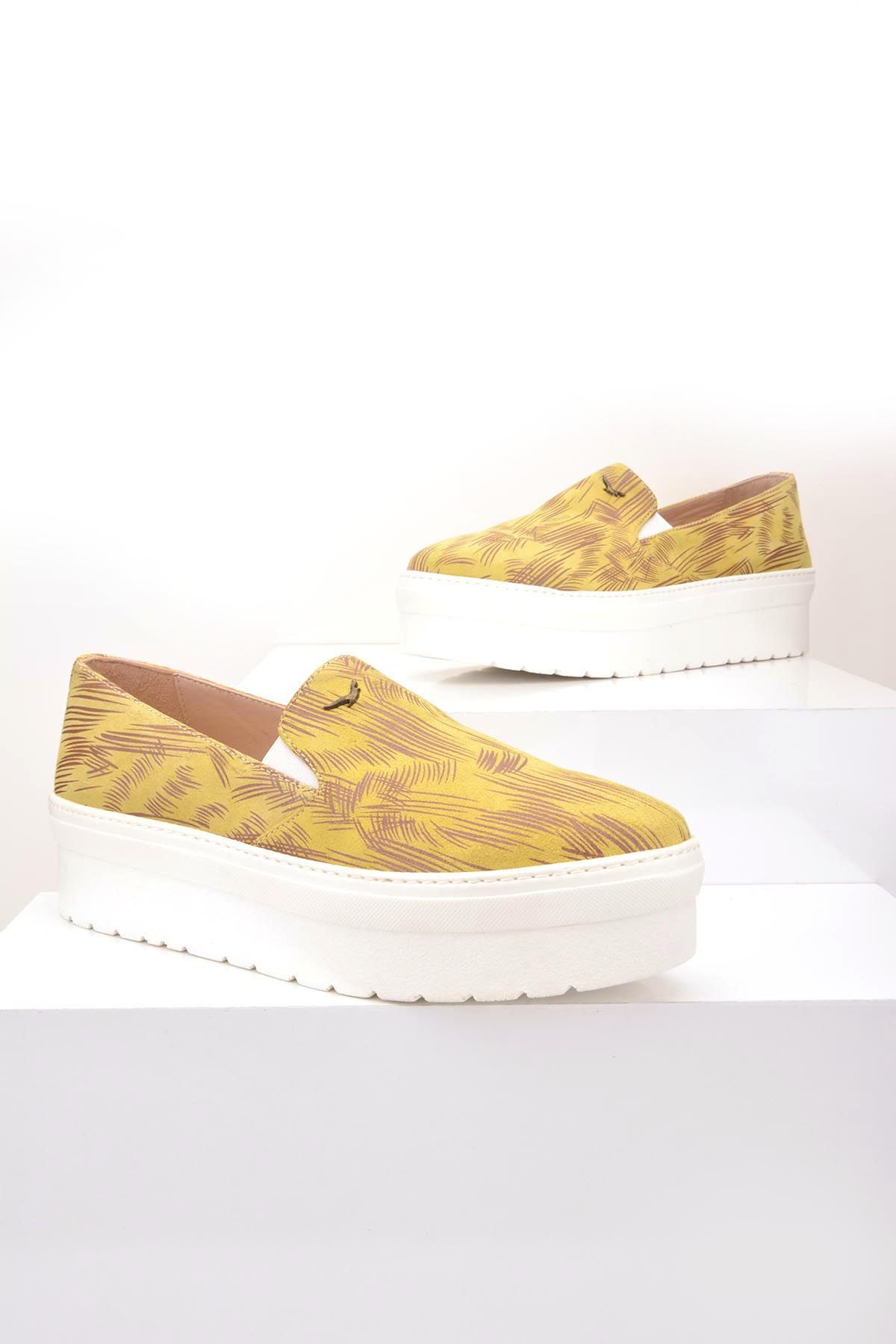 Art Goya High-Soled Women Sneakers From Genuine Leather With Pattern Green