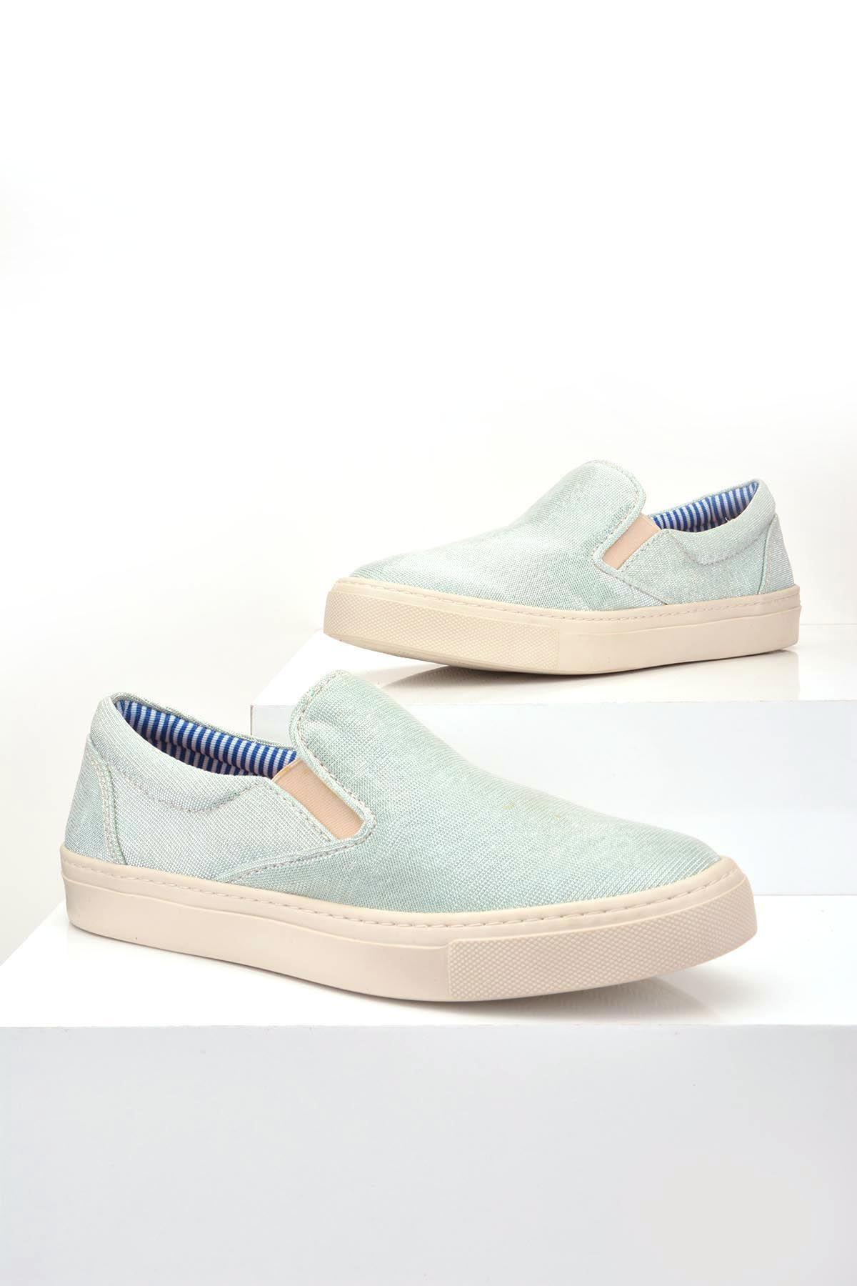 Art Goya Simli Kumaş Bayan Sneaker  Mavi