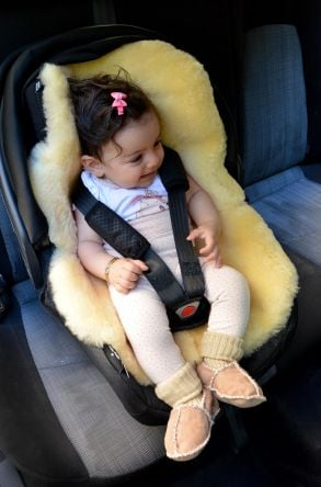 Sheepy Care Sheepskin Pillow For Child Car Seat Natural