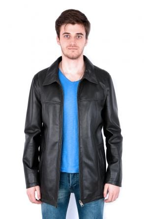 Pegia Men Leather Jacket Black