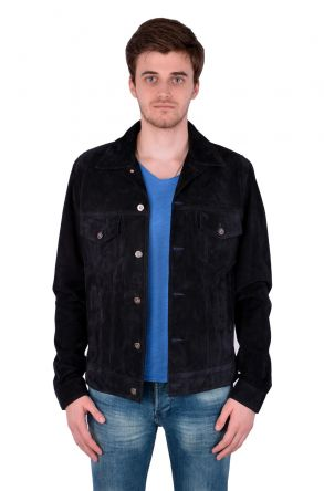 Pegia Мужская Куртка Из Натуральной Замши Темно-синий
