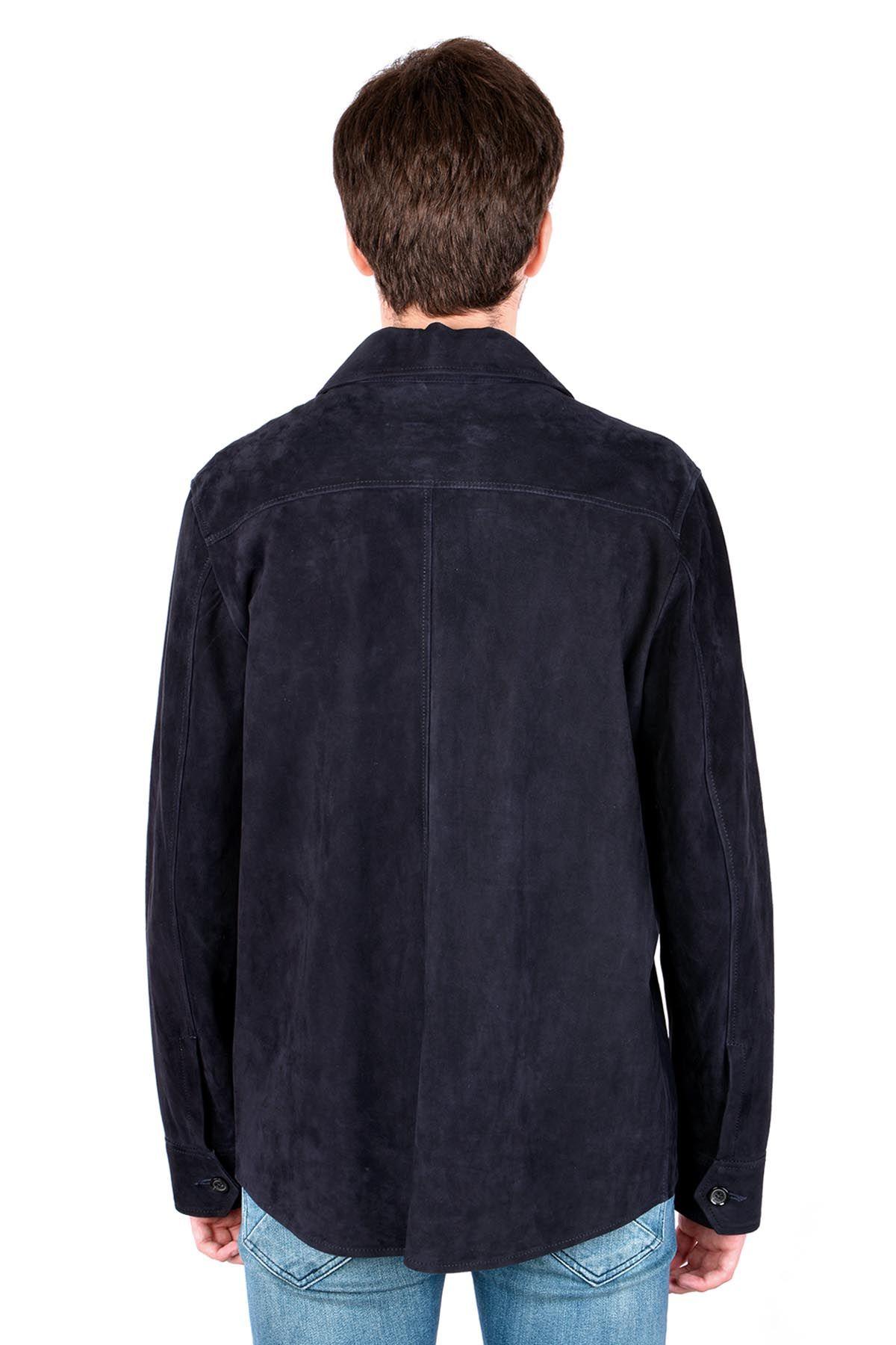Pegia Hakiki Süet Baharlık Erkek Ceket 17CE19 Lacivert