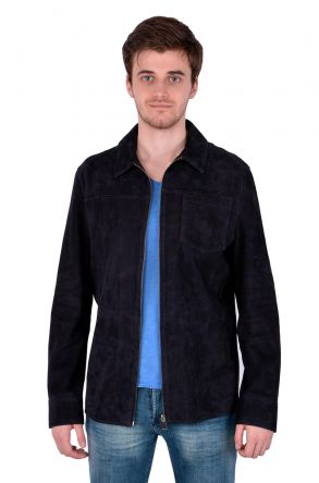 Pegia Spring Men Suede Jacket Navy blue