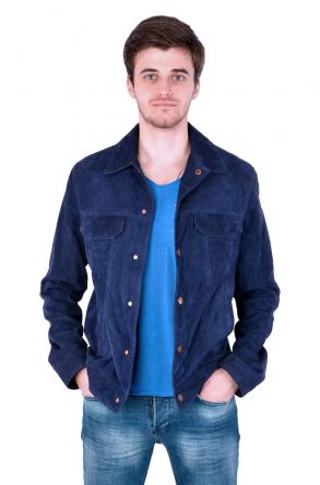 Pegia Men Suede Jacket Navy blue