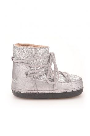 Cool Moon Women Snowboots From Genuine Fur With Sequins Silver