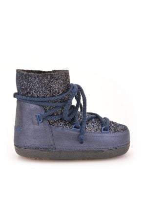 Cool Moon Women Snowboots From Genuine Fur With Sequins Navy blue