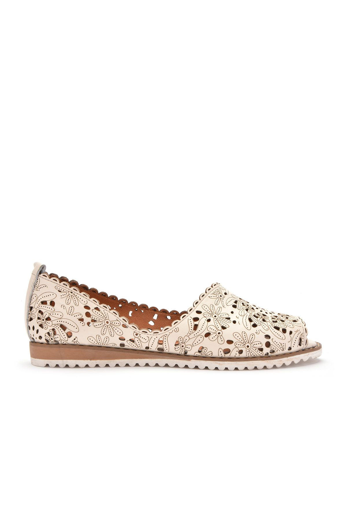 Pegia Hakiki Deri Önü Açık Bayan Ayakkabı  Beyaz