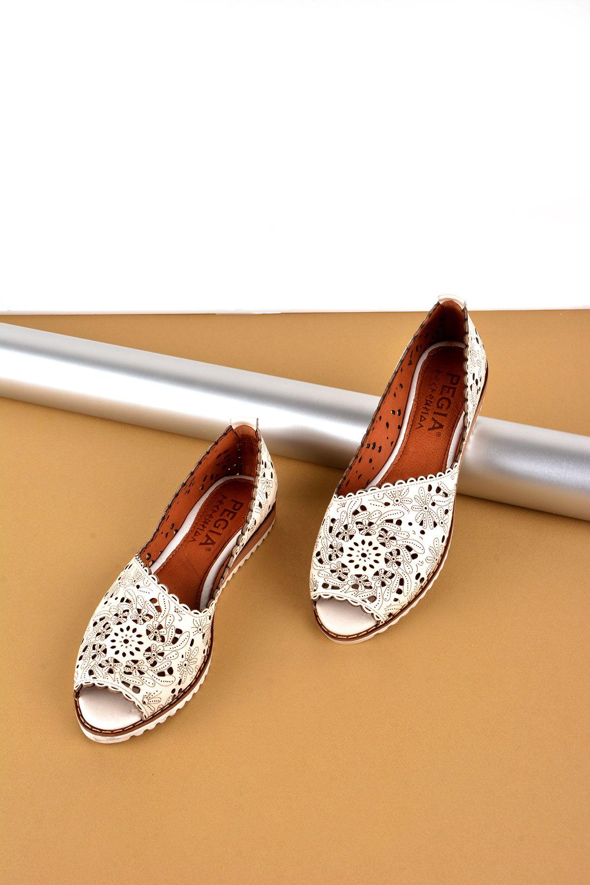 Pegia Открытая Женская Обувь Из Натуральной Кожи REC-135 Белый