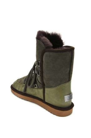 Pegia Laced Women Boots From Genuine Leather & Fur Bright Green