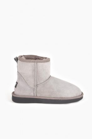 Pegia Short Women Ugg Boots From Genuine Suede And Sheepskin Fur Gray