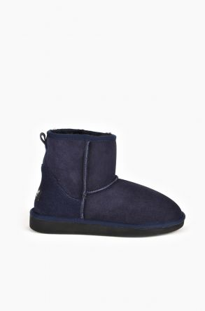 Pegia Short Women Ugg Boots From Genuine Suede And Sheepskin Fur Navy blue
