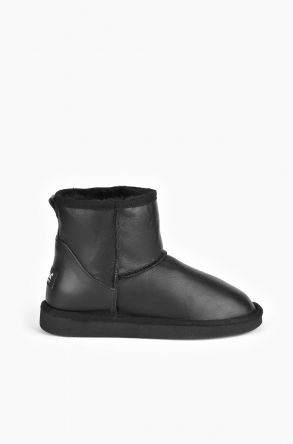 Pegia Short Women Ugg Boots From Genuine Leather And Sheepskin Fur Black