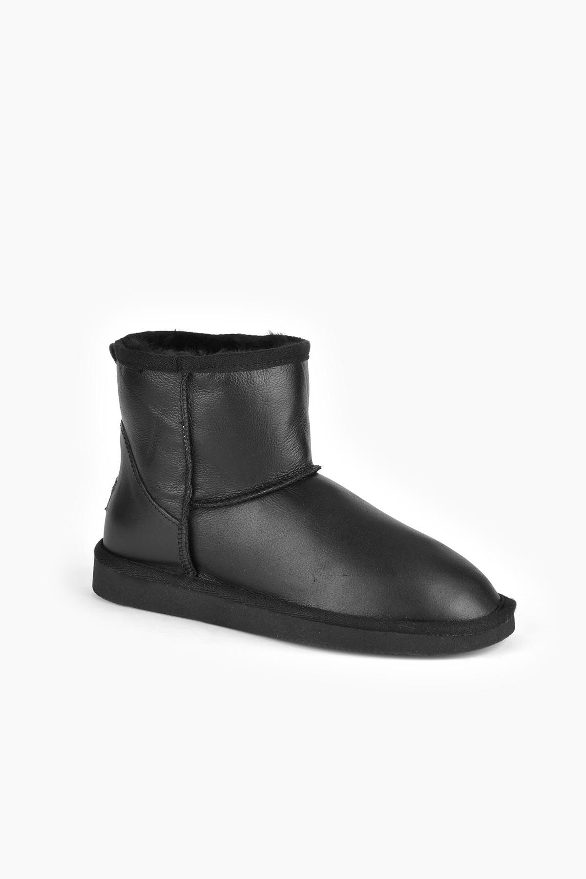 Pegia Short Women Ugg Style Boots From Genuine Leather And Sheepskin Fur Black