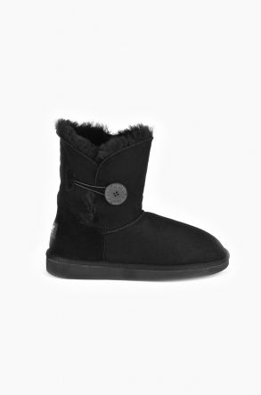 Pegia Women Ugg Boots From Genuine Suede And Sheepskin Fur Decorated With Snap Black