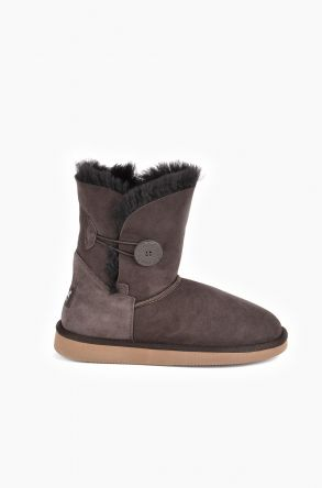Pegia Women Ugg Boots From Genuine Suede And Sheepskin Fur Decorated With Snap Brown