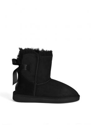 Pegia Women Ugg Boots From Genuine Suede And Sheepskin Fur Decorated With Bow Black