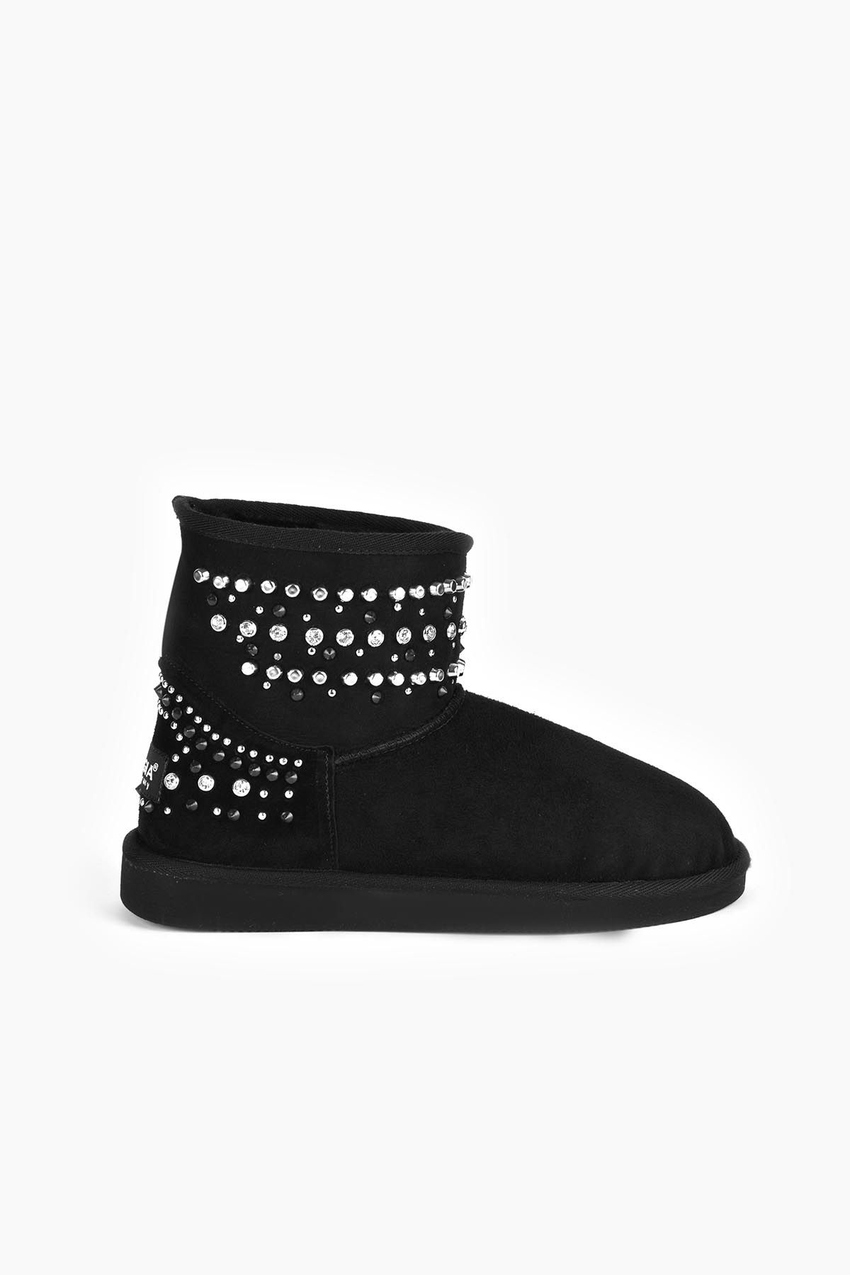 Pegia Women Ugg Style Boots From Genuine Suede And Sheepskin Fur Decorated With Stones Black