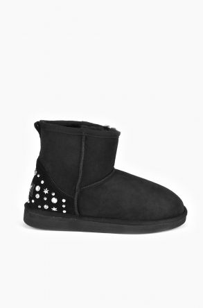 Pegia Women Ugg Boots From Genuine Suede And Sheepskin Fur Decorated With Stones Black