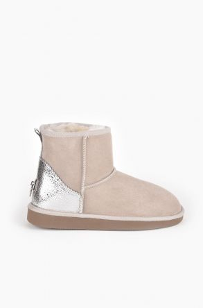 Pegia Women Ugg Boots From Genuine Suede And Sheepskin Fur Decorated With Leather Beige