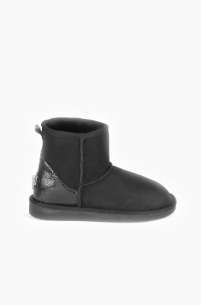 Pegia Women Ugg Boots From Genuine Suede And Sheepskin Fur Decorated With Leather Black