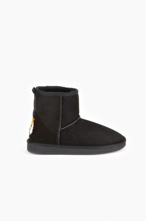 Pegia Women Ugg Boots From Genuine Suede And Sheepskin Fur Decorated With Tiger Insertion Black