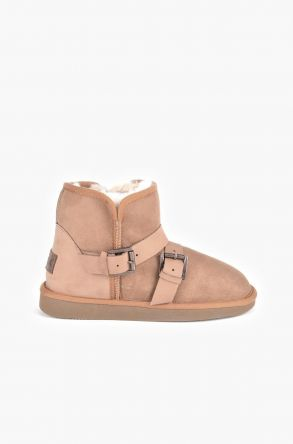 Pegia Women Ugg Boots From Genuine Suede And Sheepskin Fur Decorated With Belt Ginger