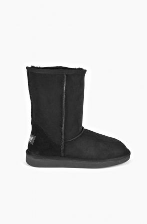 Pegia Classic Women Ugg Boots From Genuine Suede And Sheepskin Fur Black