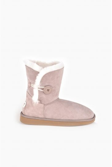 Pegia Women Ugg Boots From Genuine Suede And Sheepskin Fur Decorated With Snap Powdery
