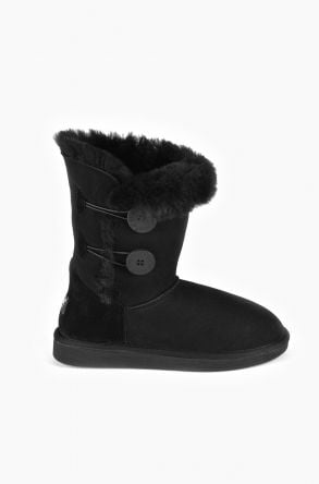 Pegia Women Ugg Boots From Genuine Suede And Sheepskin Fur Decorated With Snaps Black