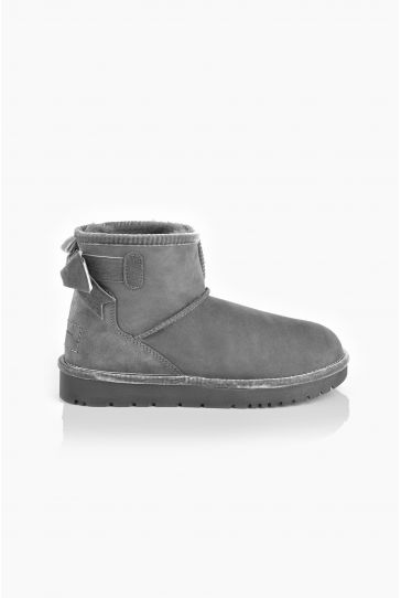 Tms Extra-Short Women Ugg Style Boots With Bow T-26481 Gray