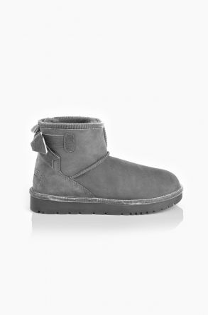 Tms Extra-Short Women Ugg Style Boots With Bow Gray