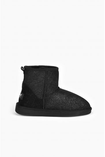 Pegia Short Women Ugg Boots From Genuine Sheepskin Fur With Galaxy Sequins Black