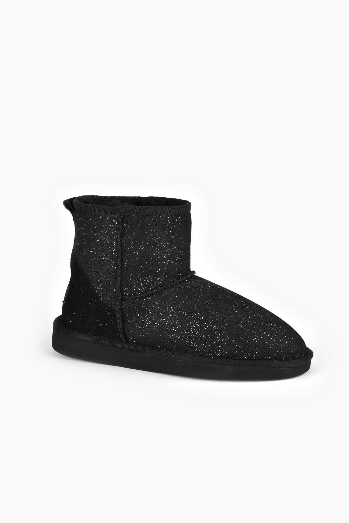 Pegia Short Women Ugg Style Boots From Genuine Sheepskin Fur With Galaxy Sequins Black