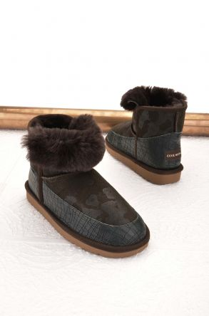 Cool Moon Women Ugg Boots From Genuine Sheepskin Fur Green