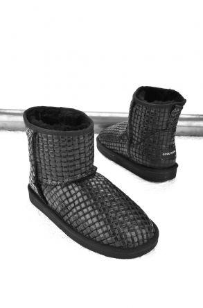 Cool Moon Women Ugg Style Boots From Genuine Sheepskin Fur Black