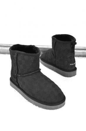 Cool Moon Women Ugg Boots From Genuine Sheepskin Fur Black