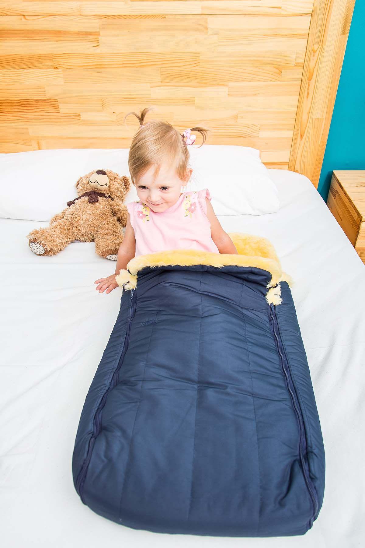 Sheepy Care Детский Конверт Из Натуральной Овчины С Двойной Молнией MDK011 Темно-синий