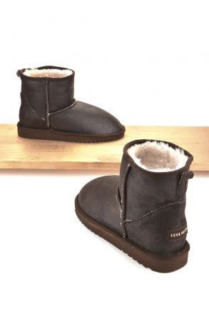 Cool Moon Women Ugg Boots From Genuine Sheepskin Fur Brown