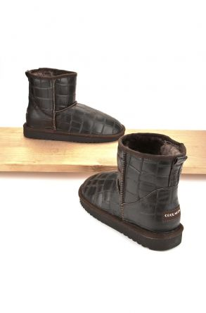Cool Moon Women Ugg Style Boots From Genuine Sheepskin Fur Brown