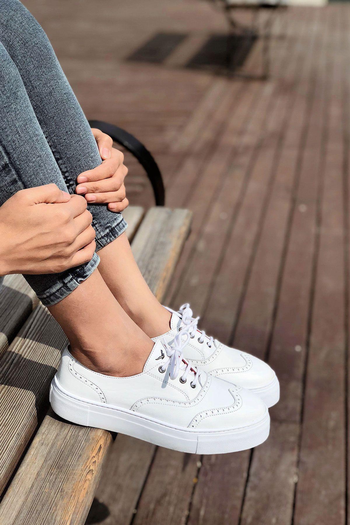 Pegia Chatalet Hakiki Deri Oxford Ayakkabı  Beyaz