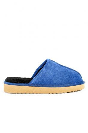 Pegia Women House-shoes From Genuine Suede & Fur Blue