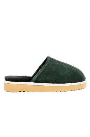 Pegia Women House-shoes From Genuine Suede & Fur Dark-green