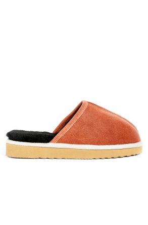 Pegia Women House-shoes From Genuine Suede & Fur Brick-red
