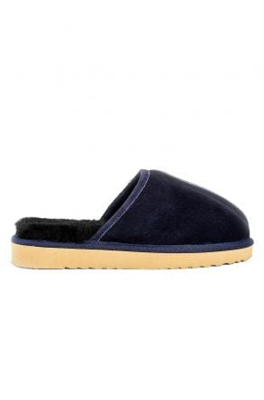 Pegia Women House-shoes From Genuine Suede & Fur Navy blue