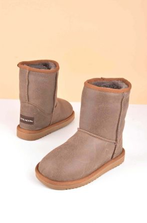 Cool Moon Classic Kids Ugg Style Boots From Genuine Fur Brown