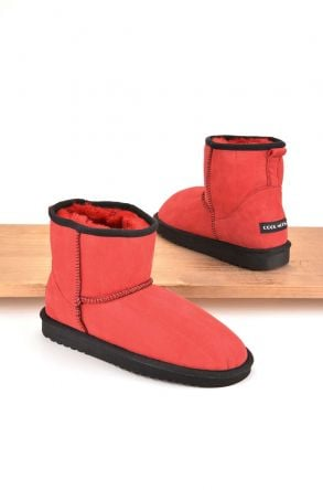 Cool Moon Women Ugg Style Boots From Genuine Sheepskin Fur Red