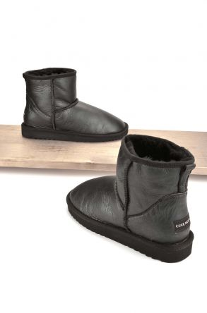 Cool Moon Women Ugg Style Boots From Genuine Sheepskin Fur Gray