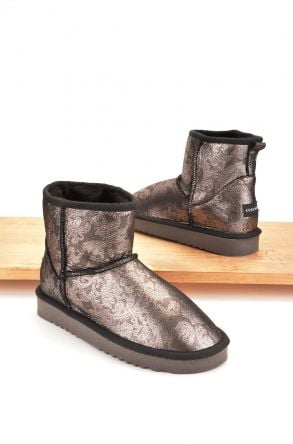 Cool Moon Women Ugg Boots From Genuine Sheepskin Fur Silver