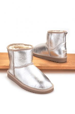 Cool Moon Women Ugg Style Boots From Genuine Sheepskin Fur Silver